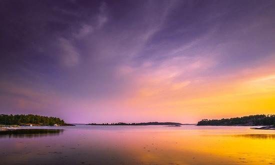 Sunset and Stockholm archipelago, Fjärdlång, Stockholm (Sweden